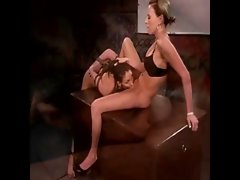 This vixen gets bent over the desk by her mistress