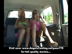 Beautifull excellent blond lezzies couple with large melons undressing