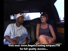 Amateur amazing redhead slutty girl with natural knockers undressing in the car