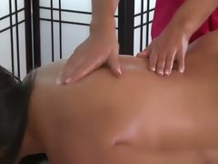 Filthy hooters get oiled down by luscious masseuse