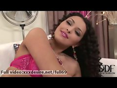 Juliana Grandi _ Curly dark haired slutty girl playing with her knockers and slit