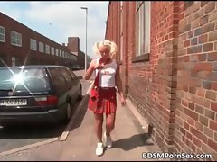 Whorish tempting blonde schoolgirl gets bum