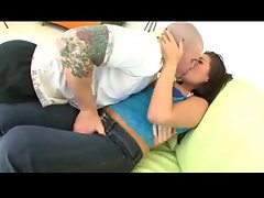 Filthy dark haired lady with natural hooters banged lustily