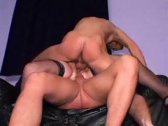 Experienced double screwed in ebony stockings