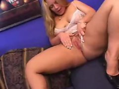 Blond with big naughty butt loves ebony fellow inside her