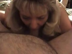 Attractive mature blond slutty wife blows plumper hubby