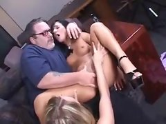 Buxom elder fellow plays with two bombshells