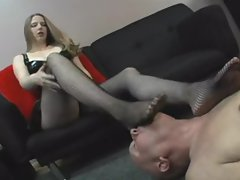 Dominant young woman wants him to lick her feet