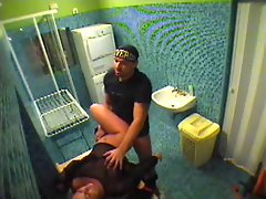 Couple screwing in bathroom voyeur video