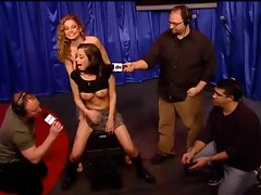 Schoolgirl slutty girl rides Sybian on Howard Stern show