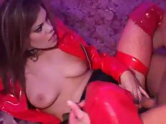 Vixen clad in red latex banged in the butt