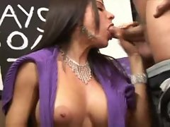 Shocking BJ from mega big melons dark haired filthy bitch