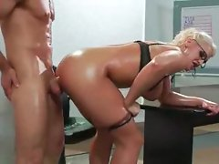 Oiled up big melons blond banged from behind