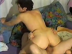 The slutty wife sits on his shaft and rides