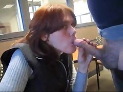 Sweater lass gives a dick sucking in public for facial