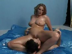 Filthy oiled up lady facesitting and BJ