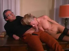 Blondie gags on his xxl big cock