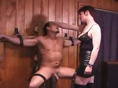 Dominatrix makes him suffer for her