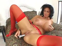 Deauxma toys stunning anal in red stockings