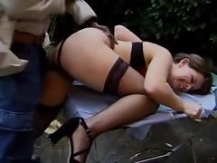 Banging that very hairy dark haired filthy bitch with BBC outdoors