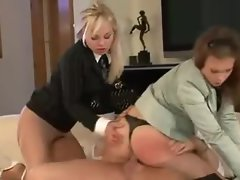 Elegantly dressed lasses wild sex and pissing