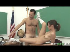 Attractive raunchy teen Heather Vahn banged on a desk