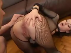 Fishnet body stocking looks flawless on her 18yo body