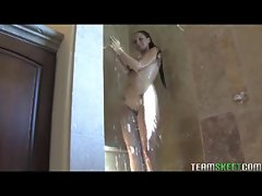 Girl with filthy natural hooters receives a shower