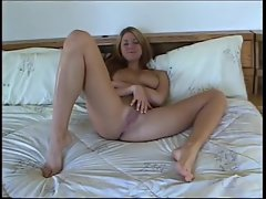 Comely 18yo amateur in his bedroom stroking pecker