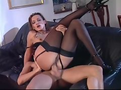 Euro young lady in black gloves banged in the pussy