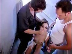 Blindfolded Sasha Grey on her knees stroking penis