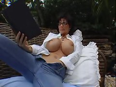 Deauxma masturbates and strokes penis outdoors