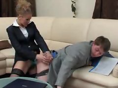 Slutty girl gets bossy and bones his bum with strapon