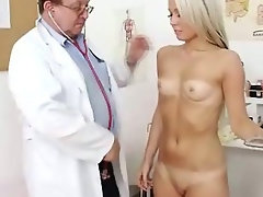 Experienced doctor checks 18 years old tempting blonde babe Venus twat