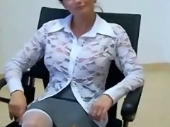 Attractive mature couple fuck in office