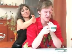 Seductive russian Momma Banging Son in Kitchen