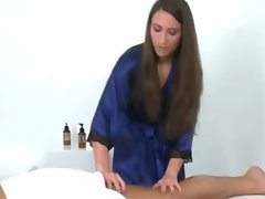 Masseuse young lady gives massage and dick sucking to client