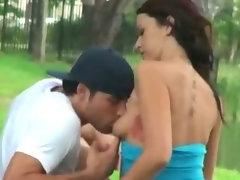 Lecher lad caught a comely girlfriend licking and riding her lovers prick in the park