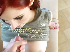 Redhead Girlfriend like the idea to give head and get banged on tape