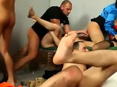 Bi snatch and butt banging in filthy orgy