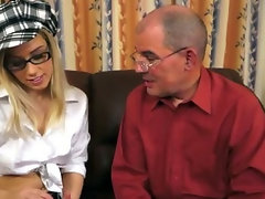 Attractive grandpa seduces blond bombshell