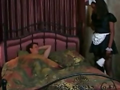 Bijan ebony maid in uniform gets drilled