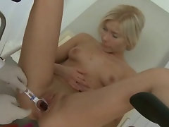 Tempting blonde Gets Her Snatch And Naughty ass Probed By Her Doctor