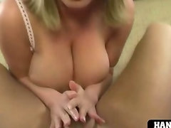 Blondie gets bare cummed in her hooters