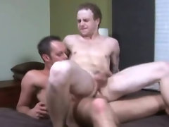 Pale college twink jumping up and down a stiff pecker