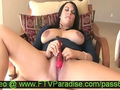 Magnificent Buxom Dark haired Doll Toying