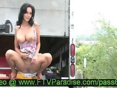 Magnificent Beauteous Dark haired Buxom Doll Outdoor