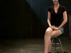 Bondage young lady gets lots of clothespins and flogging and slit banging with toy