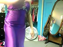 Luscious Sassy teen Showing Off Her Purple Satin Prom Dress