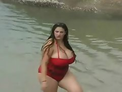 A Filthy Obese Young lady With Huge Knockers In The Sea